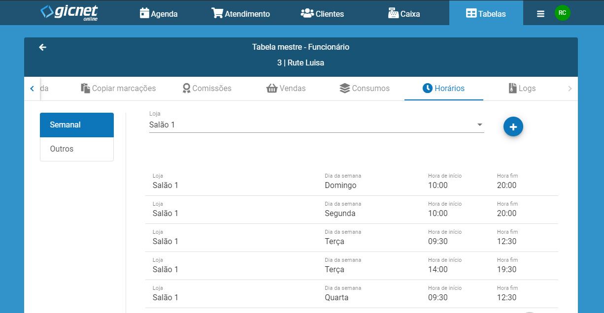 gicnet online horarios de funcionarios
